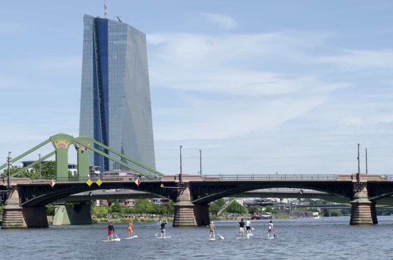 Main Sup - Stand up Paddeling vor der Frankfurter Skyline